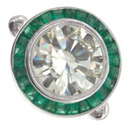 5.00ct Round Brilliant GIA Certified Green Emerald Antique Engagement Ring