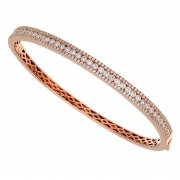 Ladies Rose Gold Diamond Bangle Bracelet