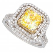 2.75ct Fancy Yellow Radiant Cut Diamond Engagement Ring