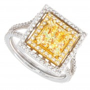 2.00ct Princess Cut Fancy Yellow Diamond Engagement Ring