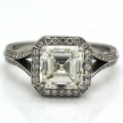 3.06ct Asscher Cut Diamond Engagement Ring Certified