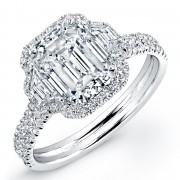 3.42ct Emerald Cut Diamond Micropavé Engagement Ring