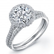 3.12ct Round Brilliant Cut Diamond Micropavé Engagement Ring