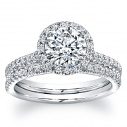 1.74ct Round Micropavé Diamond Engagement Ring