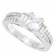 1.35ct Certified Princess Cut Diamond Engagement Ring