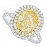 2.76ct Fancy Light  Yellow Oval Cut Diamond Engagement Ring GIA Certified