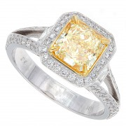 2.10ct Radiant Cut Fancy Yellow Certified Diamond Engagement Ring GIA Certified