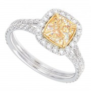 1.65ct Cushion Cut Certified  Fancy Yellow Diamond Engagement Ring