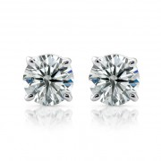 18kt Ladies 1.00ct I/J SI Round Basket Diamond Stud Earrings