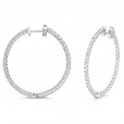 Ladies 2.50ct Diamond Hoop Earrings