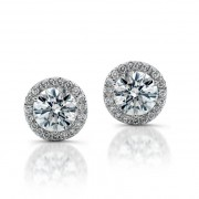 Ladies 1.59ct Round Brilliant Cut Diamond Micropavé Stud Earrings