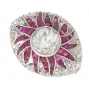 Old European Cut Diamond  and Ruby Antique Ring