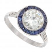 Old European Cut Diamond and Blue Sapphire Antique Ring