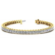 6.00ct Princess Cut Yellow Gold Diamond Tennis Bracelet