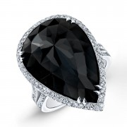 Ladies Pear Shape Black Diamond Ring