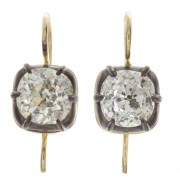 6.00ct Old Mine Cut Antique Diamond Earrings