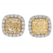 2.35ct Fancy Yellow Cushion Cut Pavé Halo Diamond Earrings