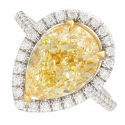 3.47ct Pear Cut Fancy Yellow Pavé Diamond Engagement Ring