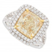 4.88ct Cushion Cut Canary Halo Pavé Diamond Engagement Ring