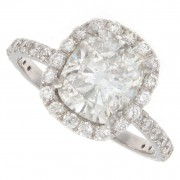 2.50ct Cushion Cut Halo Pavé Diamond Engagement Ring