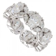 4.90ct Oval & Marquise Diamond 18kt White Gold Eternity Band