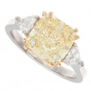 3.50ct Cushion Cut Fancy Yellow Diamond Engagement Ring
