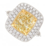 2.93ct Cushion Cut Fancy Yellow Double Halo Pavé Diamond Engagement Ring