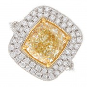 4.03ct Fancy Yellow Cushion Cut Double Halo Diamond Engagement Ring