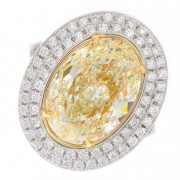5.60ct Fancy Yellow Oval Cut Double Halo Diamond Engagement Ring