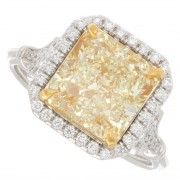4.22ct Radiant Cut Fancy Yellow Halo Diamond Engagement Ring