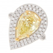 3.63ct Fancy Yellow Double Halo Pear Cut Diamond Engagement Ring