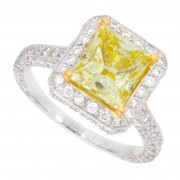 2.50ct Fancy Yellow Princess Cut Engagement Ring