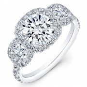 2.00ct Round Brilliant Cut Micropavé Halo Certified Diamond Engagement Ring