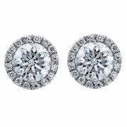Ladies 2.00ct Round Brilliant Cut Diamond Micropavé Stud Earrings