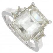 5.31ct Certified Emerald Cut Three Stone Diamond Engagement RIng