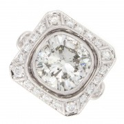 3.50ct Old Mine Cut Diamond Engagement Ring