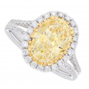 2.50ct Oval Cut Fancy Yellow Pavé Diamond Engagement Ring