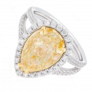 4.54ct Pear Cut Fancy Yellow Pavé Diamond Engagement Ring
