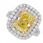 5.45ct Cushion Cut Fancy Yellow Certified Diamond Engagement Ring