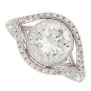 2.53ct Round Cut Modern Pavé GIA Certfied Diamond Engagement Ring