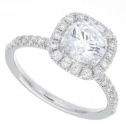 1.70ct Round Brilliant Diamond Micropavé Engagement Ring