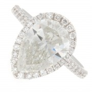 3.15ct Pear Cut Halo Pavé Diamond Engagement Ring