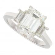 2.30ct Three-Stone Emerald Cut with Trapezoids Diamond Engagement Ring
