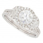 1.77ct Three-Stone Round Cut Halo Pavé with Half-Moons Diamond Engagement Ring