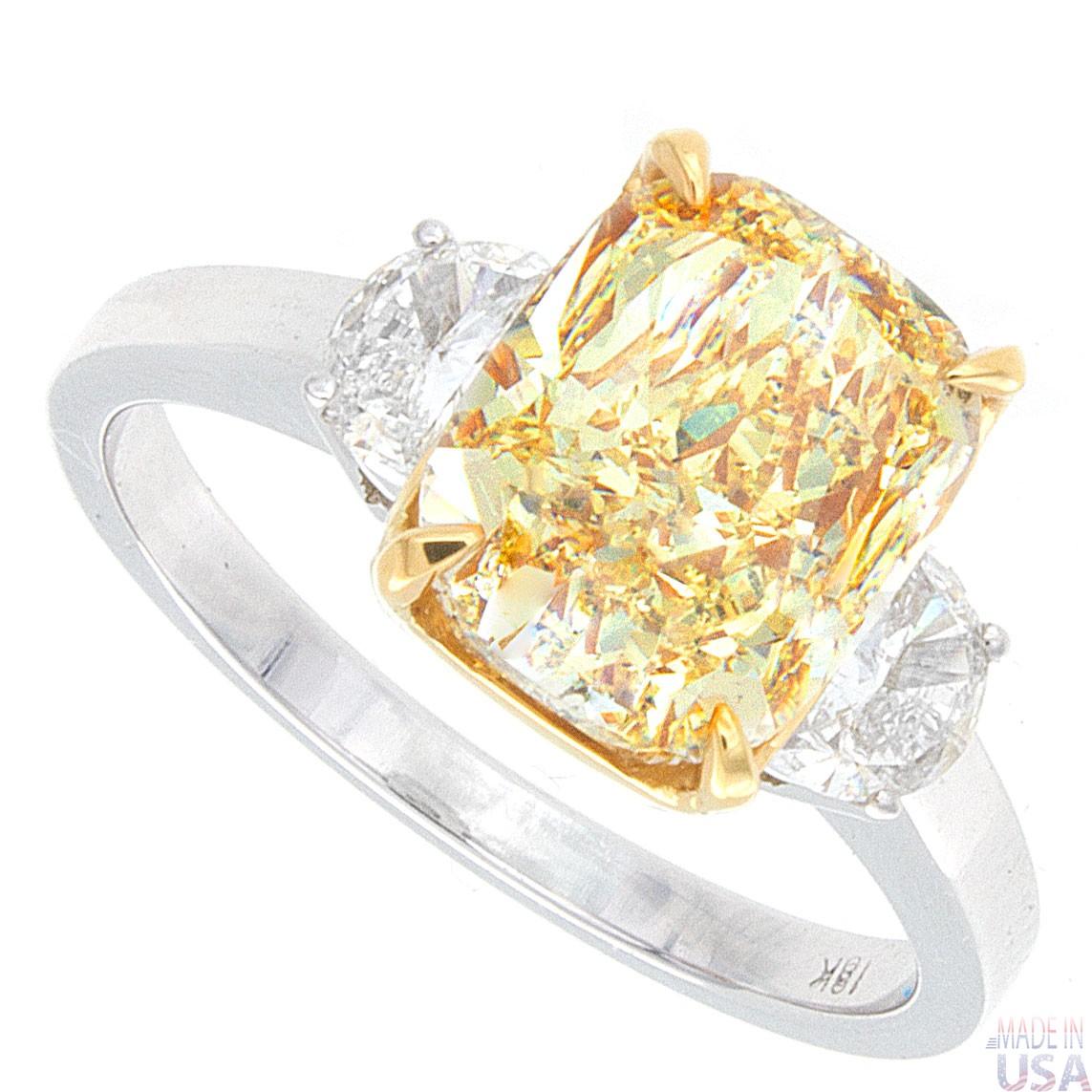 Well-known 3.30ct Cushion Cut Fancy Light Yellow VVS Certified Diamond  MJ95