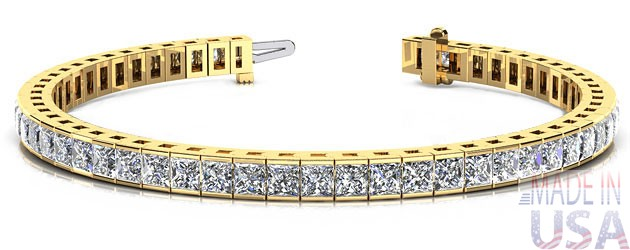 ct Princess Cut Yellow Gold Diamond Tennis Bracelet
