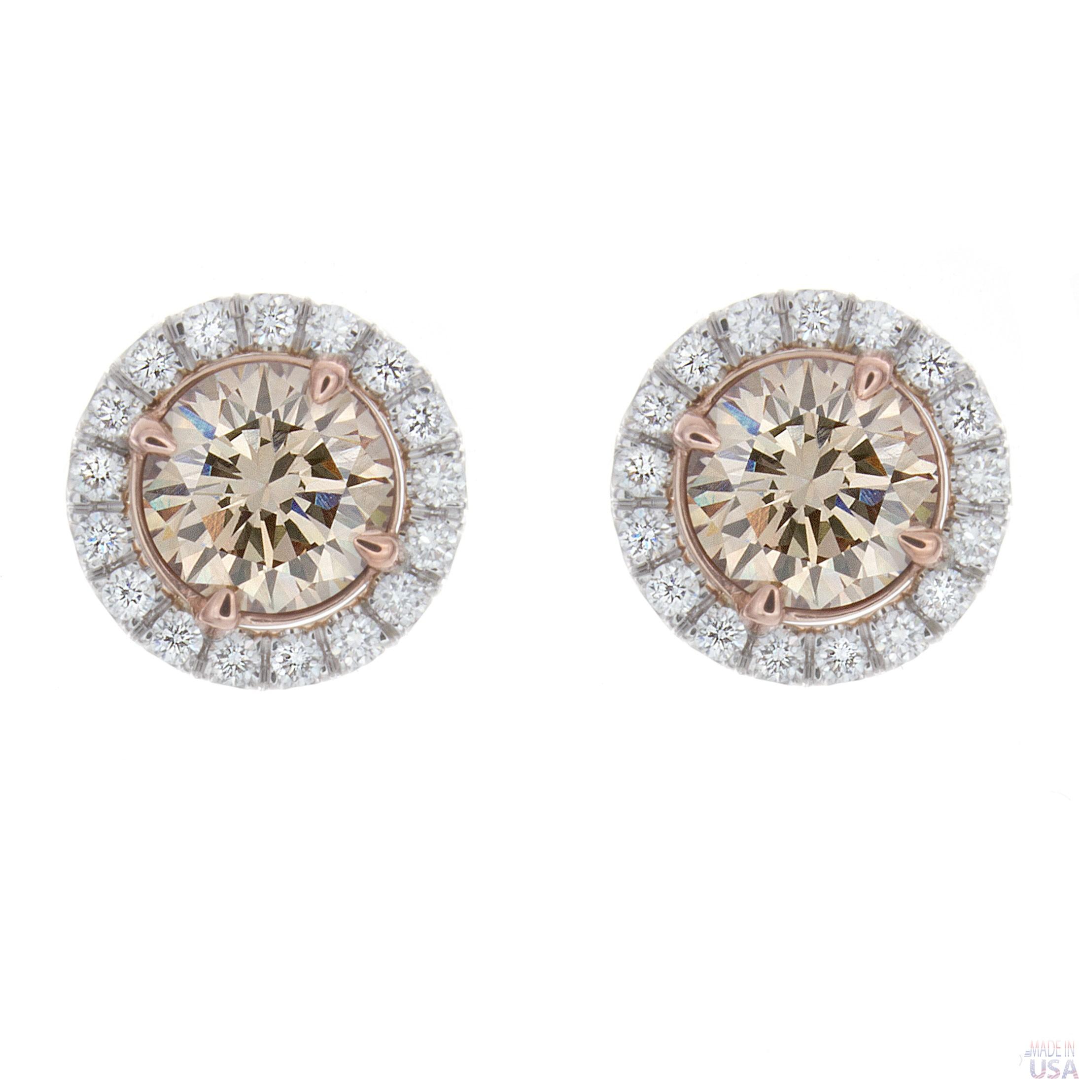 Champagne Diamond Stud Earrings 14k Yellow Gold Champagne Diamond