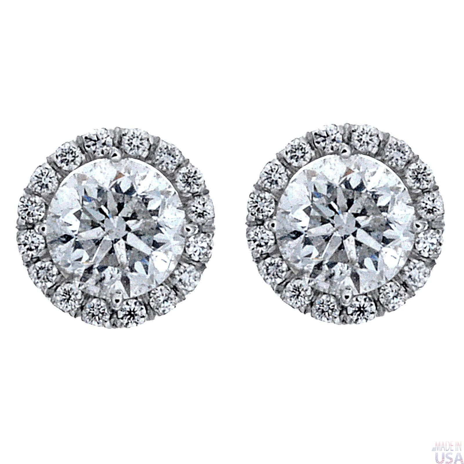 2 00ct Round Brilliant Cut Diamond Micropavé Stud Earrings